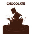 Pieces of chocolate fall into liquid hot chocolate vector image
