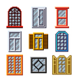 Pixel windows for games icons set vector image