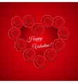 Heart frame shaped red roses for valentine vector image