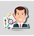 man with papers isolated icon design vector image
