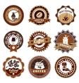 Coffe Emblems Labels Set Brown vector image