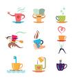 coffee tea icon set vector image
