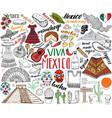 mexico hand drawn sketch set vector image