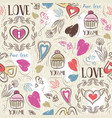 seamless patterned background with hearts vector image