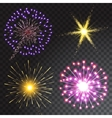 Set of coloured firework isolated on transparent vector image