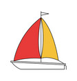 silhouette color section of sailboat icon vector image