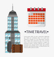 time travel poster calendar landmark vector image