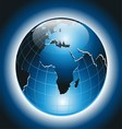 World Globe on Dark Blue Background vector image