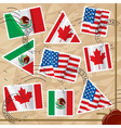 Postage stamps with flags vector image vector image