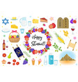 shavuot icons set flat style collection design vector image