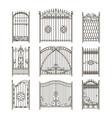 iron gates with decorative elements vector image