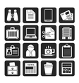 Silhouette Business and office elements icons vector image