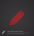 pencil outline symbol red on dark background logo vector image