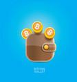 Bitcoin wallet icon with coins vector image