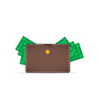 brown wallet with money dollars stick out of the vector image