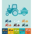 Flat design tractor with trailer vector image