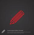 pencil outline symbol red on dark background logo vector image