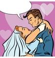 Wedding bride and groom love heart hug vector image