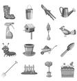 Gardening icons set gray monochrome style vector image