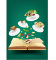 Creative recipe book concept idea vector image