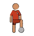drawing character soccer player uniform vector image