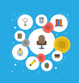 flat icons contact trash basket board stand vector image