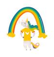 happy unicorn character standing under big rainbow vector image