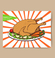 Sketch roasted turkey vector image