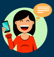 smiling brunette girl holding a smartphone in her vector image