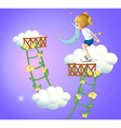 A young lady in the clouds vector image