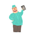 cartoon smiling dentist character holding xray vector image vector image