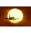 The plane flying into the sunset vector image