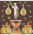 Businessman standing on the hourglass vector image