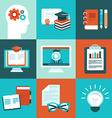 educational icons and signs in flat style vector image