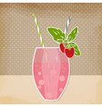 Cocktail strawberry background Glass of drink vector image
