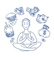 Financial yoga Businessman meditating on money vector image