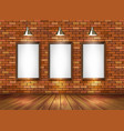 Brick show room with spotlights vector image