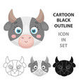 cow muzzle icon in cartoon style isolated on white vector image