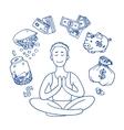 Financial yoga Businessman meditating on money vector image