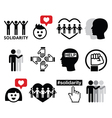 Human Solidarity icons people helping each other vector image