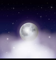 nightly background with moon over clouds on starry vector image