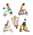 People On Scooters Set vector image