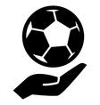 Soccer ball on hand vector image