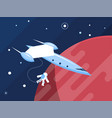 spaceship with astronaut vector image