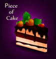 piece of tasty cake with strawberries sweet food vector image