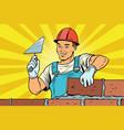 builder brickwork construction and repair vector image