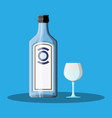 bottle of gin with shot glass gin alcohol drink vector image