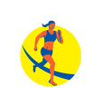 Female Triathlete Marathon Runner Retro vector image vector image
