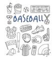 Baseball Items Hand Drawn Set vector image