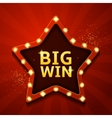 Big win retro banner in form of star with lamps vector image